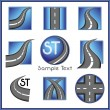 Road and direction related vector mark collection in blue color - Stock Vector