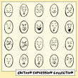 Collection of twenty funny hand drawn cartoon face expressions — Stock Vector
