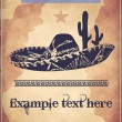 Western style poster with sombrero, cactus and text — Stock Vector