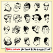 Collection of twenty hand drawn cartoon heads in black, isolated on light yellow background - Stock Vector