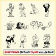 Hand drawn cartoon figure collection in black on light yellow background  — Stock Vector