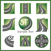 Road and direction related vector mark collection in green color — Stock Vector