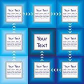 Presentazione aziendale con sfumature di blu e con i campi collegati da frecce per il vostro testo personalizzato — Vettoriale Stock