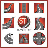 Road and direction related vector mark collection in red color — Stock Vector