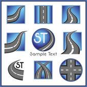 Camino y dirección relacionados con la colección de marca vector en color azul — Vector de stock