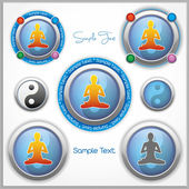 Shiny vector mark collection with a woman in lotus position and the Yin and Yang symbol, and with place for Your custom text — Stock Vector
