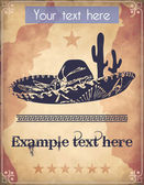 Western style poster with sombrero, cactus and text — Stok Vektör