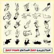 Hand drawn cartoon hand collection in black on light yellow background — Stock Vector #24740027