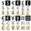 Collection of different currency symbols in black and white, silver and gold color — Stock Vector #24818311