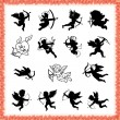 Collection of cute cupid figures in black, isolated on white background — 图库矢量图片