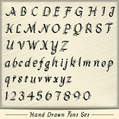 Hand drawn custom font set in black with guides isolated on ivory background — Vettoriale Stock