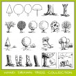 Vector de stock : Hand drawn tree collection
