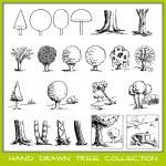 colección del árbol dibujado a mano — Vector de stock