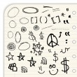 Royalty-Free Stock Vector Image: Hand draw marks and symbols isolated on a lined notebook page
