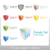 3D vector cubes with colorful diagram elements and place for custom text, also usable as standalone vector marks — Stock Vector