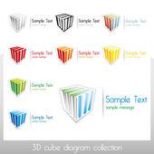 Cubes de vecteur 3d avec éléments de diagramme coloré et le lieu de texte personnalisé, également utilisable comme marques de vecteur autonome — Vecteur