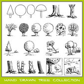 Hand drawn tree collection — Stock Vector