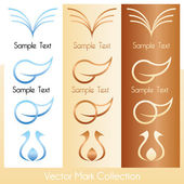 Vector mark collection with soft, feminine symbols — Stock Vector