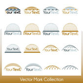 Vector mark collection related to construction, cupolas and Jewish kipa — Stock Vector