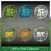 Vector mark collection with circuit or chip or main board elements serving as the symbols background — Stock Vector