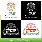 Eastern style round ornamental vector marks with place for Your custom text — Stok Vektör