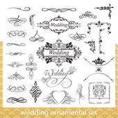 Wedding ornamental set with hearts, corner and border elements isolated on white background — Stock Vector