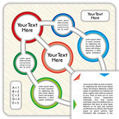 Plantilla de presentación de negocios con círculos vinculados, coloridos y espacio para su texto personalizado — Vector de stock