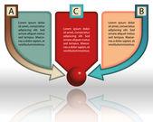 Szablon prezentacji biznesowych kolorowy z trzech płyt głównych i strzałkami w centrum — Wektor stockowy