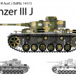 German WW2 Panzer III J tank with long 50 mm L60 gun — Stock Vector