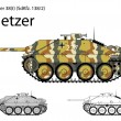 German WW2 Hetzer light tank destroyer — Stock Vector