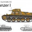 German WW2 Panzer I B light tank - Stock Vector