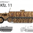 WW2 German SdKfz. 11 troop transport and general purpose half track  — Stock Vector