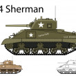 American WW2 M4 Sherman medium tank  — Stock Vector