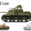 Cтоковый вектор: AmericWW2 M3 Lee medium tank