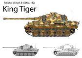German WW2 Tiger B (King Tiger) tank with long 88 mm gun — Stock Vector