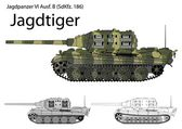 German WW2 Jagdtiger tank destroyer with long 128 mm gun — Vetor de Stock