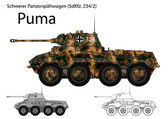 Ww2 tedesco sdkfz. 234 autoblindo 2 puma — Vettoriale Stock