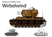 WW2 German Wirbelwind self propelled anti-aircraft vehicle — Stock Vector