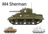 American WW2 M4 Sherman medium tank — Stock Vector