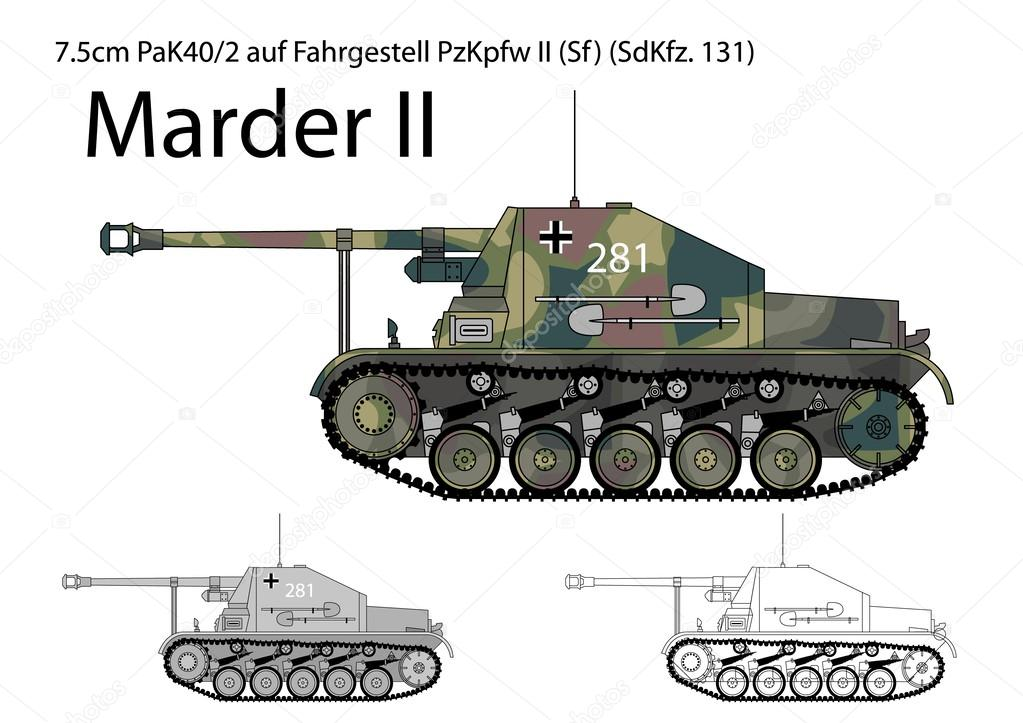deutsche ww2 marder ii jagdpanzer stockvektor. Black Bedroom Furniture Sets. Home Design Ideas