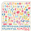 Collection of colorful hand-drawn signs, symbols, numbers and custom fonts isolated on light background — Stock Vector