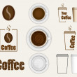 Different vector elements and objects related to coffee and beverages — Stock Vector