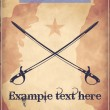 Western style poster with two crossed swords  — Imagen vectorial