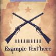Western style poster with two crossed repeater rifles — Imagen vectorial