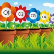 Flowers in pots on grass with numbers in descending order — Stock Vector