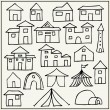 Hand drawn houses, tents and towers — Stock Vector