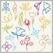 Hand drawn flower collection — Stock Vector