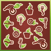 Vector mark collection related to ecology, nature, food and restaurants — Stock Vector