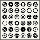 Collection of 36 gear wheels isolated on light background — Stock Vector