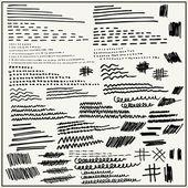 El çizilmiş çizgiler ve açık renkli izole vuruşları — Stok Vektör